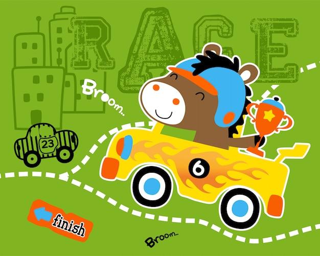 Cartone animato divertente auto da corsa con trofeo