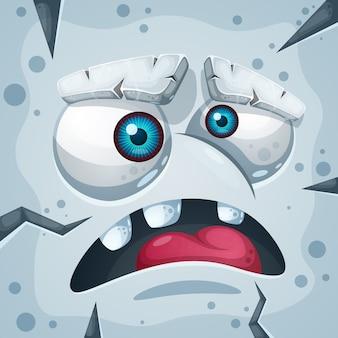 Cartone animato divertente, carino personaggio mostro di pietra