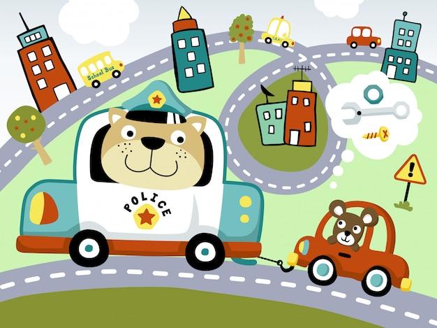 Cartone animato divertente della polizia che rimorchia piccola automobile