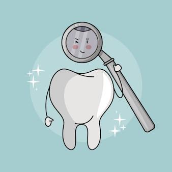 Cartone animato divertente dente