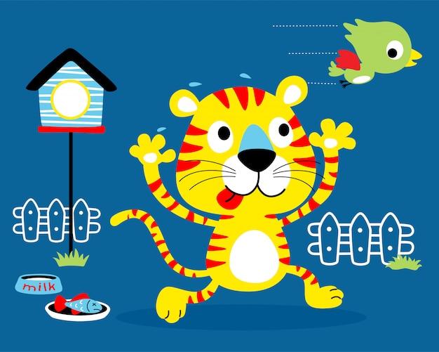 Cartone animato divertente gatto