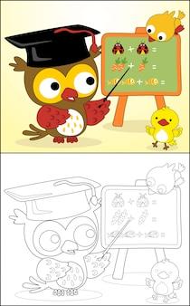 Cartone animato divertente gufo con piccoli amici