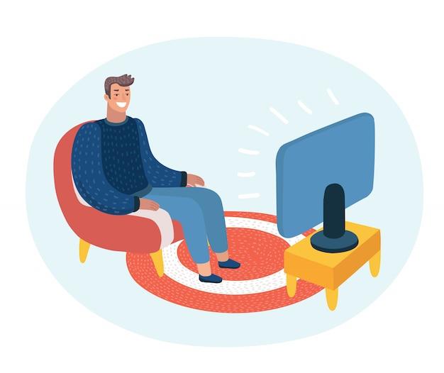 Cartone animato divertente illustrazione dell'uomo seduto sul divano e guardare la tv e parlando bolla discorso sopra di lui