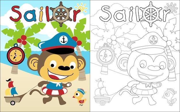 Cartone animato divertente marinaio in spiaggia