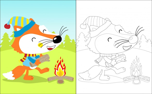 Cartone animato divertente volpe con falò