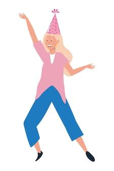Cartone animato donna con cappello da festa
