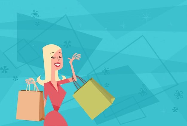 Cartone animato donna con shopping bag banner grande vendita