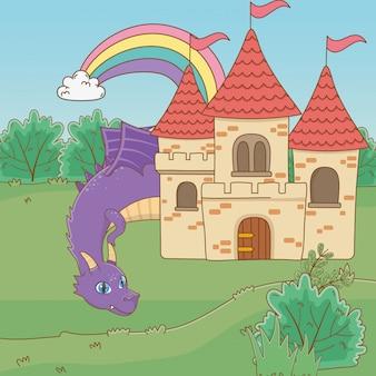 Cartone animato drago isolato
