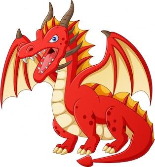 Cartone animato drago rosso illustrazione