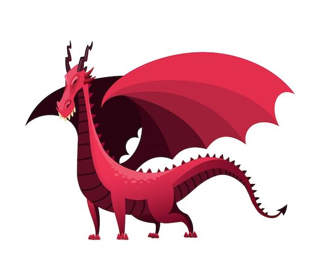 Cartone animato drago simpatico personaggio dino, baby dinosauro per bambini. divertente fuoco colorato che respira mostri draghi. illustrazione di fiaba dino isolata