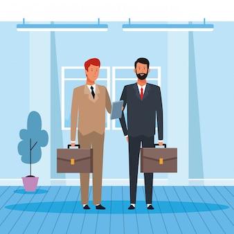 Cartone animato due uomini d'affari partner