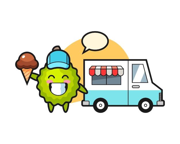 Cartone animato durian con camion dei gelati