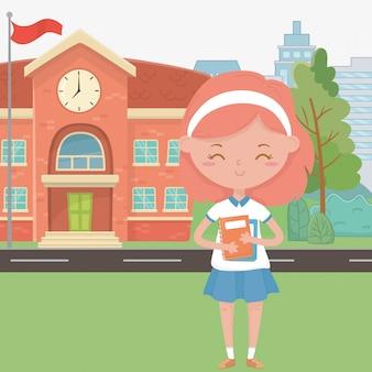 Cartone animato edificio scolastico e ragazza