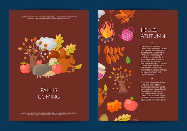 Cartone animato elementi autunnali e foglie di carta o volantino