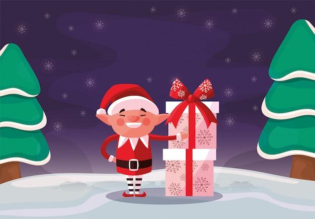 Cartone animato elfo di buon natale