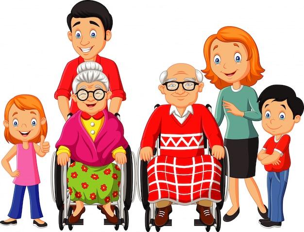Cartone animato famiglia felice