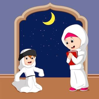 Cartone animato famiglia musulmana