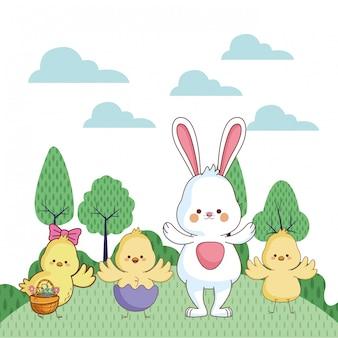 Cartone animato felice animali da fattoria