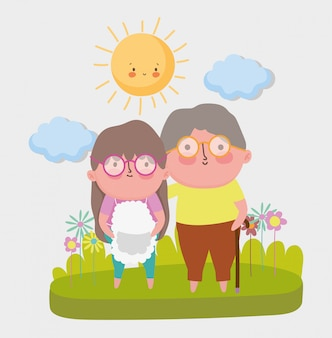 Cartone animato felice giorno dei nonni