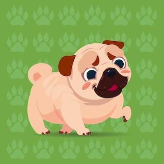 Cartone animato felice pug dog che si siede sopra l'animale domestico sveglio del fondo di orme