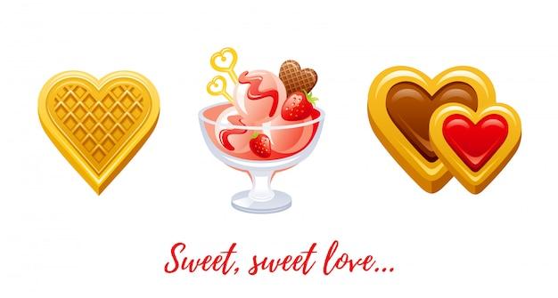 Cartone animato felice san valentino con amore cuori.