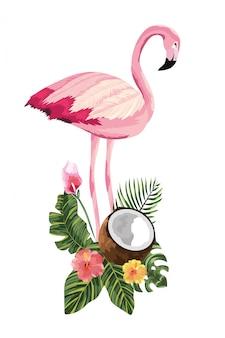Cartone animato fenicottero tropicale