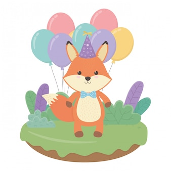 Cartone animato fox con buon compleanno