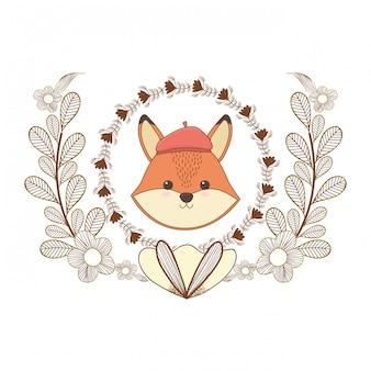 Cartone animato fox con cappello