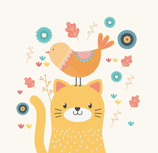 Cartone animato gatto e uccello