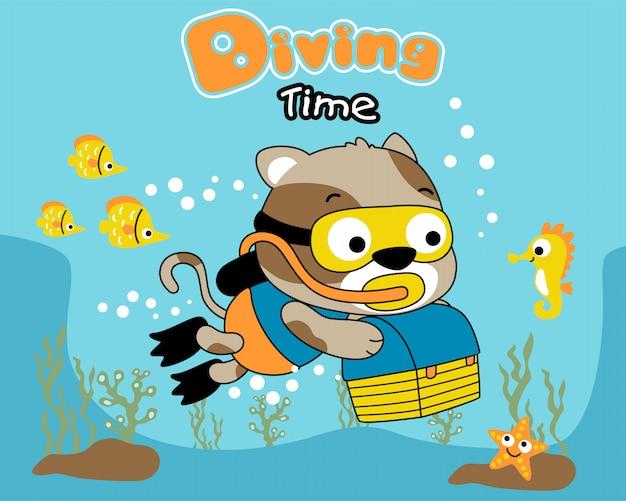 Cartone animato gatto subacqueo
