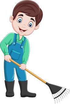 Cartone animato giovane agricoltore che lavora con un rastrello