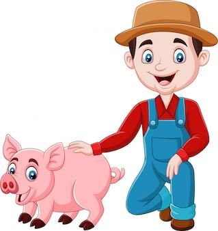 Cartone animato giovane agricoltore con un maiale