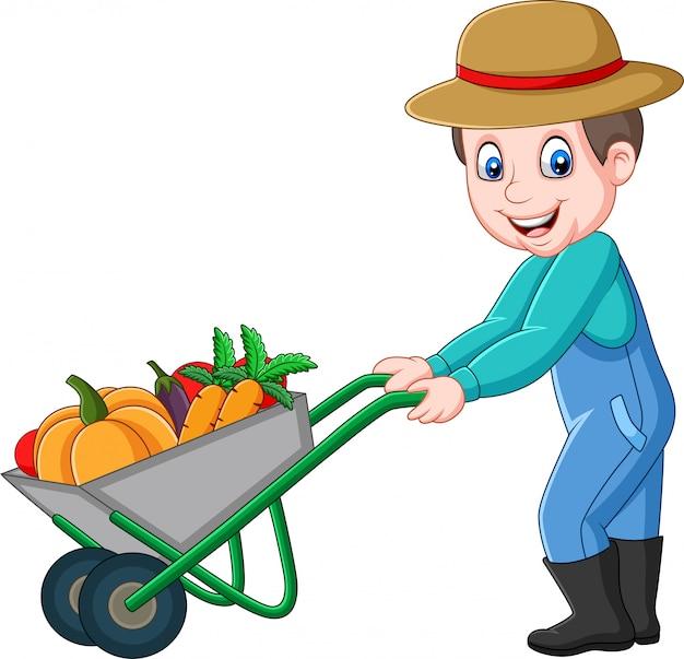 Cartone animato giovane agricoltore