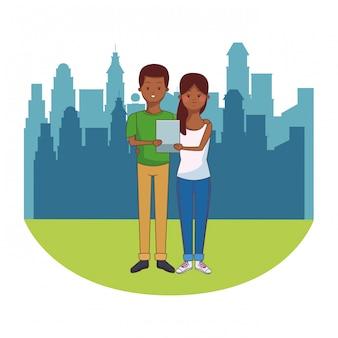 Cartone animato giovane coppia casual