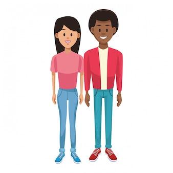 Cartone animato giovane coppia