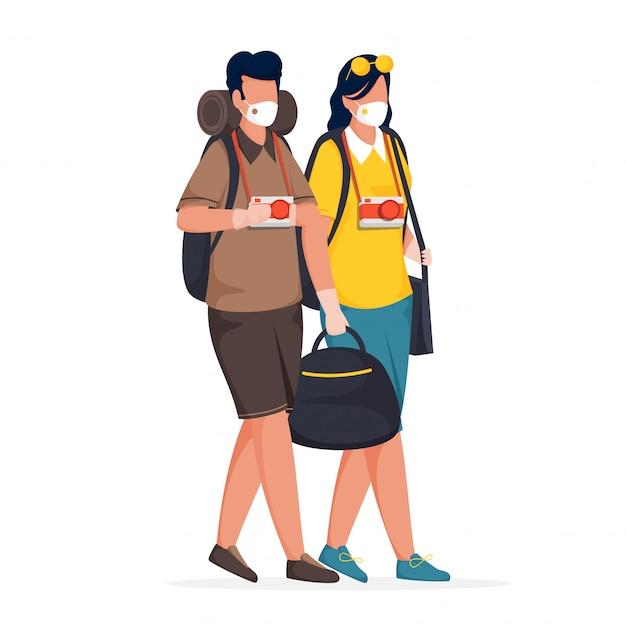 Cartone animato giovane ragazzo e ragazza indossare maschera medica con sacchi di contenimento, fotocamera su sfondo bianco.