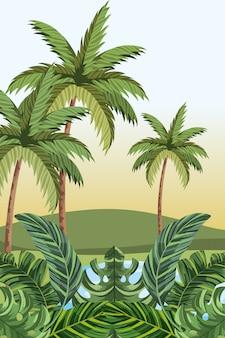 Cartone animato giungla tropicale