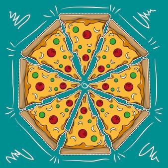 Cartone animato grande pizza
