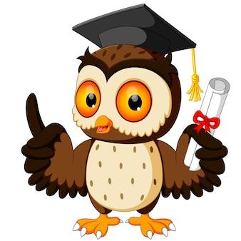 Cartone animato gufo indossando cappello di laurea