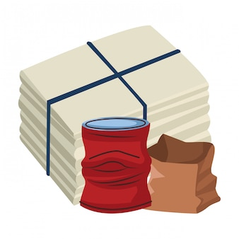 Cartone animato icona sgualcita lattina e carta