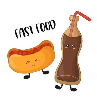 Cartone animato kawaii fast food