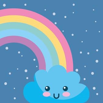 Cartone animato kawaii nuvole arcobaleno meteo