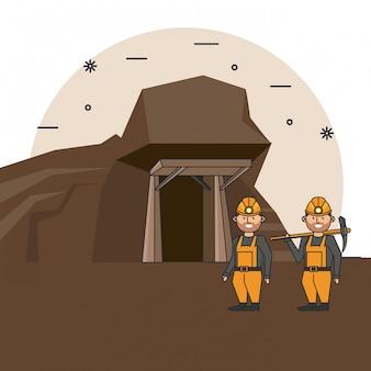 Cartone animato lavoratori delle miniere