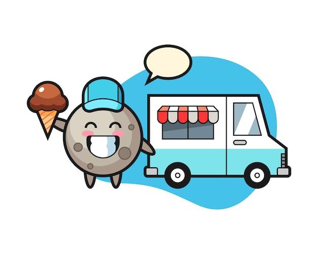 Cartone animato luna con camion di gelati