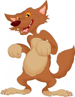 Cartone animato lupo arrabbiato