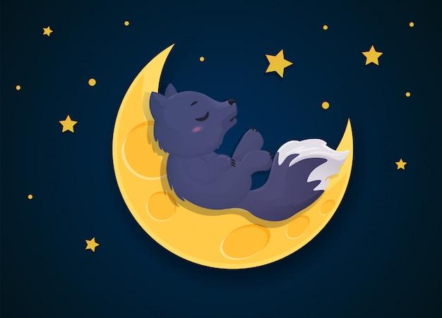 Cartone animato lupo mannaro che si trasforma in una volpe nella notte di luna piena.