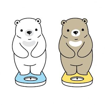 Cartone animato macchina peso dell'orso polare