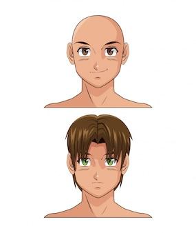 Cartone animato maschio anime a due facce
