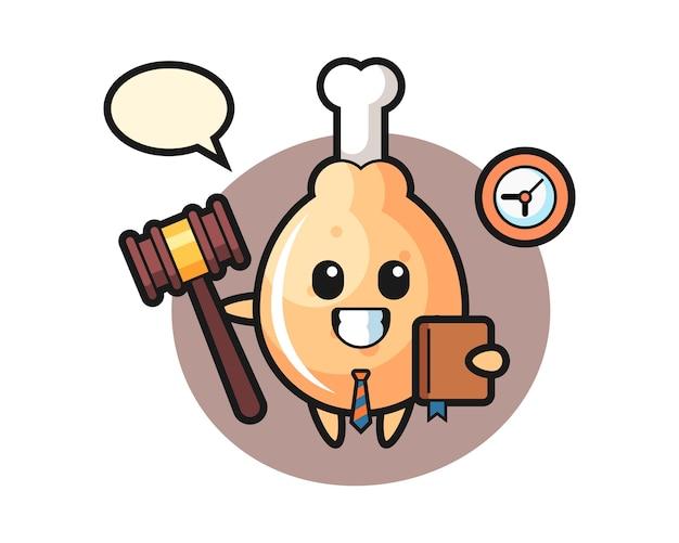 Cartone animato mascotte di pollo fritto come giudice