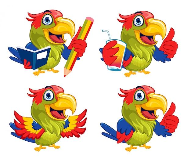Cartone animato mascotte uccello pappagallo
